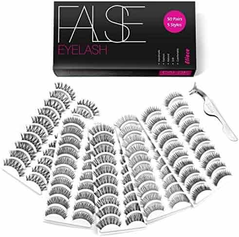 Eliace 50 Pairs Styles Lashes Handmade False Eyelashes Set Professional Eyelashes Pack,10 Pairs Eyes Lashes Each Style,Very Natural Soft and Comfortable,With Free Eyelash Tweezers