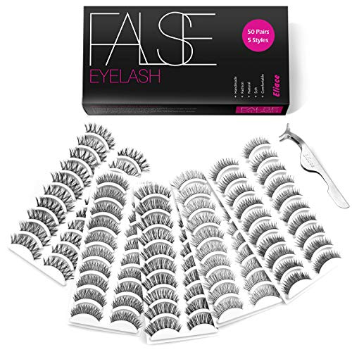 Eliace 50 Pairs Styles Lashes Handmade False Eyelashes Set Professional Eyelashes Pack,10 Pairs Eyes Lashes Each Style,Very Natural Soft and Comfortable,With Free Eyelash Tweezers