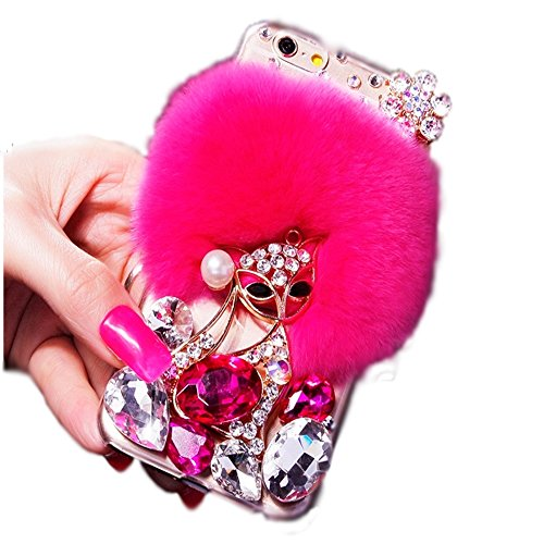 Aikeduo Iphone5s Case Handmade Bling Crystal Rabbit Fur Rhinestone Case Cover for Iphone 5s High Quality Warm Case (flowers fox deep pink) (Iphone5s Case Crystal compare prices)
