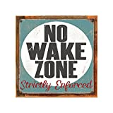 Cheap Homebody Accents ® Framed No Wake Zone 12″x12″ Metal Sign, Rustic, Strictly Enforced, Lake House, Hand-Crafted from reclaimed materials