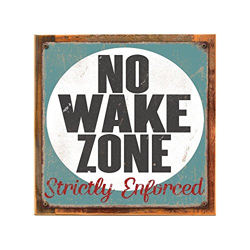 Framed, Outdoor No Wake Zone 12''x12'' Metal Sign, Rustic, Strictly Enforced, Lake House, Hand-Crafted from reclaimed materials by Homebody Accents ®