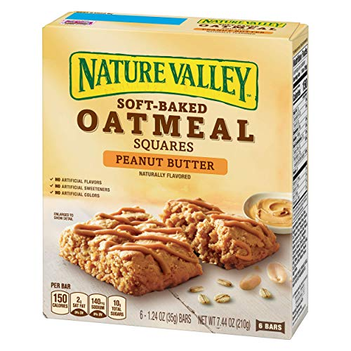 Nature Valley Soft Baked Oatmeal Squares, Peanut Butter, 6 Bars, 1.24 oz (Pack of -