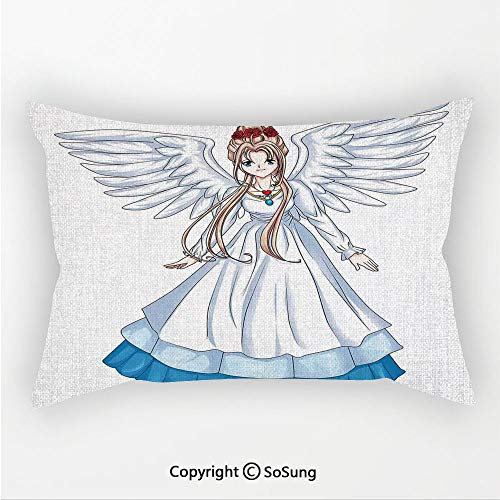 (SoSung Anime Linen Car Neck Pillow,Cartoon Illustration of Cute Angel Wings and Flowers Fairytale Japanese Manga Print,13.7x7.8Inches,for Sofa Bedroom Car & Home Decorate White)