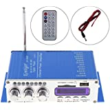 Kentiger FM Audio + MP3 Speaker Car Bluetooth Amplifier HiFi Mini 2 Channel Digital Power Player with LED Light for iPod / Motorcycle