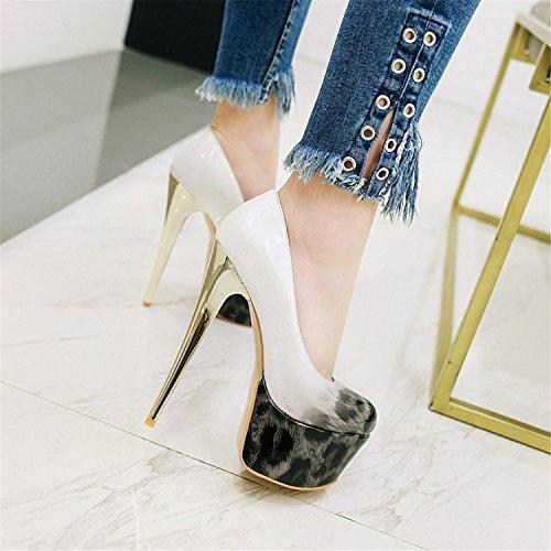 Women's Sexy Stilettos Shoes Odetina Pumps Leopard Patent Black Platform Slip Leather On 7aTxBnxdq