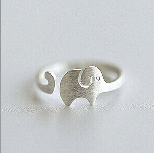 SeaISee Solid silver 925 cute elephant resizable ring trendy young style