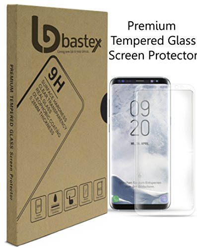 Samsung Galaxy S8 9-H Premium Tempered Glass Screen Protector, Full Screen Coverage, High Definition, Clear Transparency, Anti-Bubble Shield with Clear Face Plate for Samsung Galaxy S8