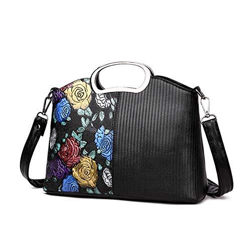 lightclub Fashion Gilding Flower Women Crossbody Shoulder Bag Faux Leather Tote Handbag For Women Black