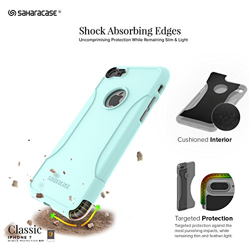 iPhone 8 Case and 7 Case, SaharaCase Protective Kit Bundle with [ZeroDamage Tempered Glass Screen Protector] Rugged Protection Anti-Slip Grip [Shockproof Bumper] Slim Fit - Aqua Teal by Sahara Case (Image #2)