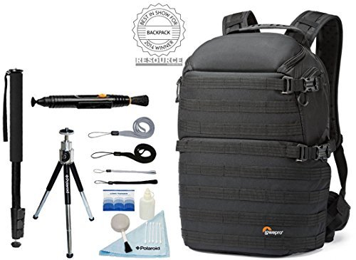Lowepro ProTactic 450 AW Photo/Drones/Laptop/Tablet/iPad Quick-Access Camera Backpack + Accessory Bundle For Canon, Nikon, Sony, Olympus, Pentax Digital SLR Cameras