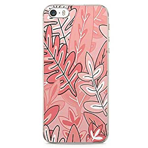 iPhone SE Transparent Edge Phone case Jungle Phone Case Pattern Pink Tone Leafy Phone Case Leaf iPhone SE Cover with Transparent Frame