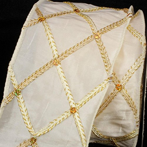 Ivory Diamond Print Taffeta Wired Craft Ribbon 3