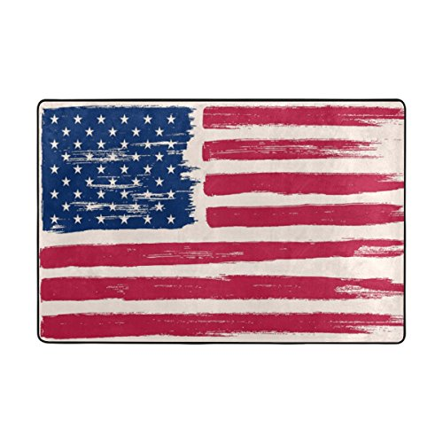 TSWEETHOME Doormat Area Rugs Outdoor Inside Welcome Mats with Art Drawing American Flag Memorial Day for Chair Mat and Decorative Floor Mat (36 x 24 in & 72 x 48 in) -