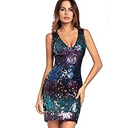 V Neck Sleeveless Purple Sequin Bodycon Dress