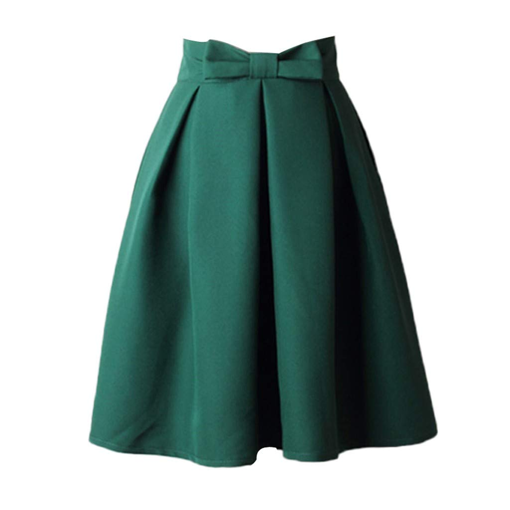 Sharemen Women's High Waist Knee Length Skirts Pleated Flared Skirts with Bow Pink(Green,S)