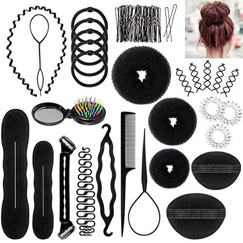 Hair Styling Accessories Set,28 Pcs Fashion Hair Design Styling Tools Kit Spiral DIY Hair Accessories Hair Bun Maker Braid Gift for Girls Women Kids