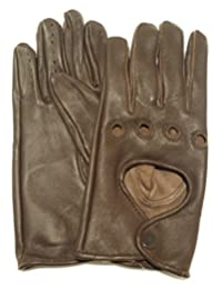 Women Unlined Genuine Leather Driving Gloves (SMALL, BROWN)