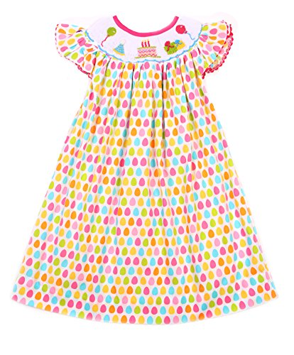 Babeeni Adorable White With Multi Color Dots Birthday Smocked Bishop Dress For Little Girls (18M) (Make Bishop Dress)