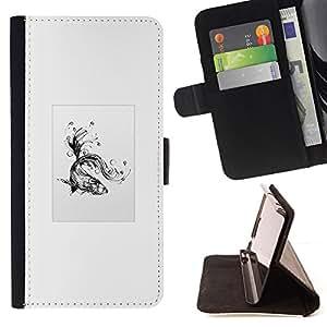 KingStore / Leather Etui en cuir / Sony Xperia Z3 D6603 / Goldfish tribal