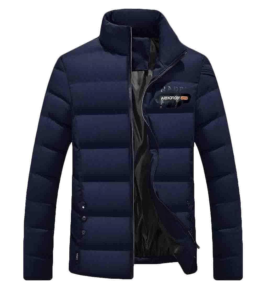 omniscient Mens Zip Up Stand Collar Winter Down Jackets Down Coat Outwears