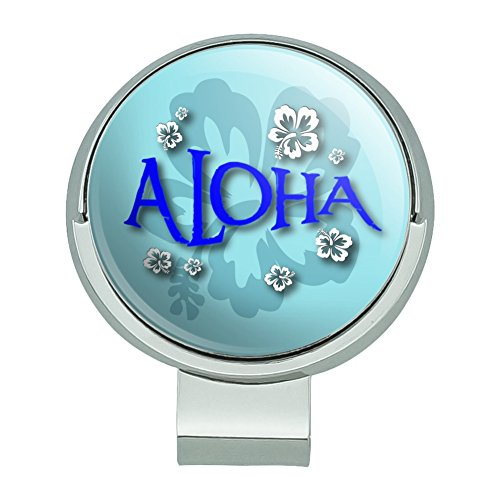 GRAPHICS & MORE Aloha Hawaiian Greeting Hibiscus Flowers Golf Hat Clip with Magnetic Ball Marker