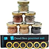 424's Natural Organic Dead Sea Salt - 6 Pack Gift set - Black Coarse Salt, Hot Chili Pepper Salt, Garlic and Pepper, Golden, Smoked and Diamond Salt – No Additives – Kosher Salt - Vegan - 6X0.88 oz.