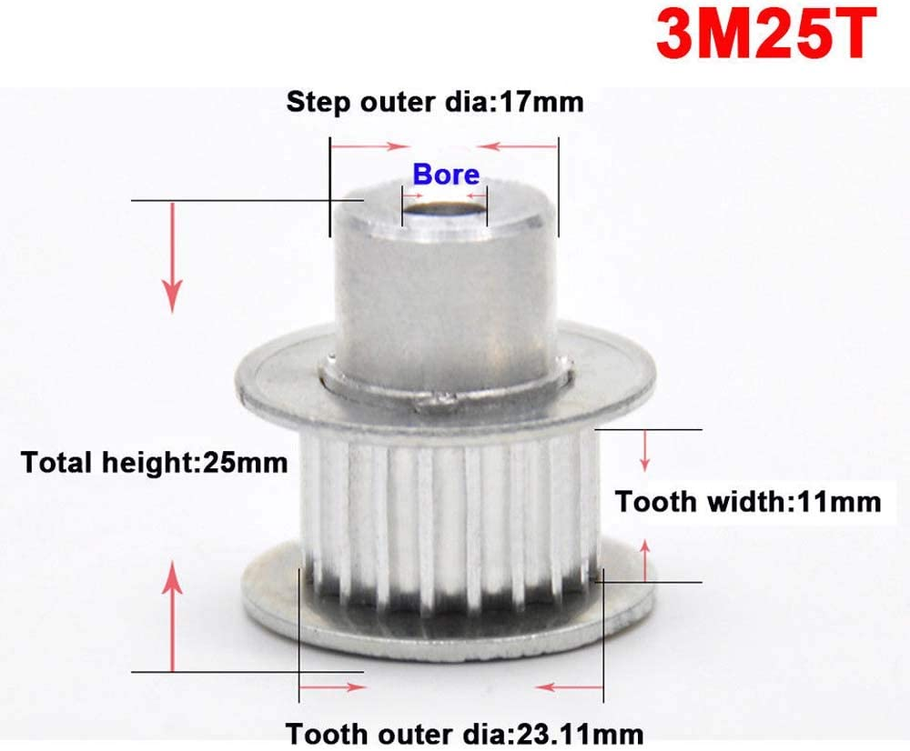 3.0Mod 15T 100T Pitch 3mm Tooth Width 11mm Timing Belt Pulley Synchronous Wheel