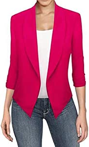Darling Women's Plus Size Slim Fit Solid Color Open-Front 3/4 Sleeve Work Office OL Blazer Jacket Coat