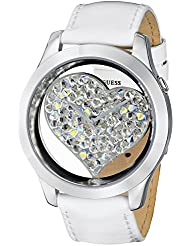 GUESS U0113L6 Womens White and Silver-Tone Clearly Inspired Heart Watch