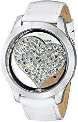 GUESS U0113L6 Women's White and Silver-Tone Clearly Inspired Heart Watch