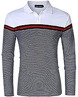 Men's Polo Shirts Casual Striped 2 Button...