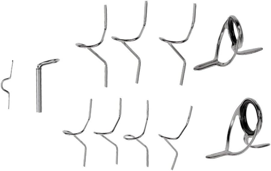 MonkeyJack Fly Fishing Rod Guide Tip Repair Kit Set DIY Eye Rings Different Size Stainless Steel Frames Fly Rod Guide Set
