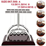 Inkach Newton Cradle Balance Balls - Physics Science Desk Toy - Kinetic Art Asteroid Gift (Wine, S)