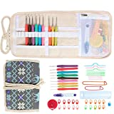 Damero Ergonomic Crochet Hooks Set, Travel Canvas Roll Organizer with 9pcs 2mm to 6mm Soft Grip Crochet Hooks and Complete Knitting Accessories, All in One, Easy to Carry, Elk