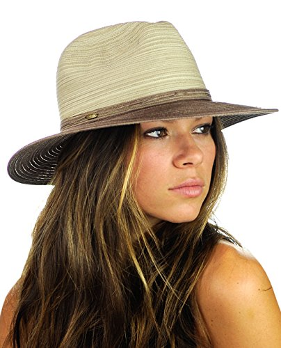 NYFASHION101 Multicolor Weaved Band Matching Brim Panama Fedora Sun Hat, Brown