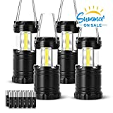 VICOUP 4 Pack LED Camping Lantern with Magnetic Base & 12 AAA Batteries - Best Camping Gear Survival Kit Lantern Flashlight for Emergency, Hurricane, Power Outage (Black, Collapsible)