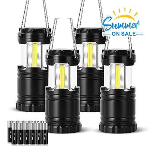 VICOUP 4 Pack LED Camping Lantern with Magnetic Base & 12 AAA Batteries - Best Camping Gear Survival Kit Lantern Flashlight for Emergency, Hurricane, Power Outage (Black, Collapsible) by VICOUP