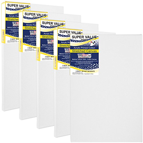0 inch Super Value Quality Acid Free Stretched Canvas 5-Pack - 3/4 Profile Primed Gesso (1-Super Value Pack of 5 Canvases) (16 In Stretched Canvas)