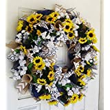 CLEARANCE! Bright Summer Sunflower Front Door Deco Mesh Wreath, Spring Fall Decor, Burlap Wedding Farmhouse, French Country