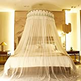 Is There a Bigger Bed Than a King Size WENZHANG Children's ceiling nets Round fly screen Dome ceiling Round princess style sweet girls mosquito net for single anti mosquito bites-A Queen2