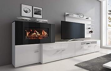 Home Innovation Meuble De Salon Avec Cheminée électrique à 5 Niveaux De Flamme Finition Blanc Mat Et Laqué Blanc Brillant Mesures 290 X 170 X 45