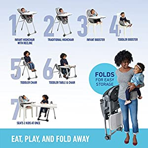 Graco Table2Table Premier Fold 7 in 1 Convertible High Chair   Converts to Dining Booster Seat, Kids Table and More, Landry