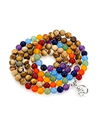 POSHFEEL Multi Natural Stones Stretch Bracelet 108 Beads 7 Chakra Ohm Mala Bracelet/Necklace