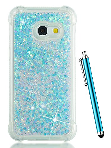 CAIYUNL Glitter Case for Galaxy J7 Perx /J7 V / J7 Prime / J7 2017 / J7 Sky Pro/Samsung Galaxy Halo Bling Liquid Floating Clear Cute TPU Phone Cases Women Men Protective Luxury Cover Bumper-Baby Blue
