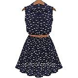 MRxcff Summer Dress Cotton CAT Footprint Sleeveless Lapel Collar Maxi Women Dress Plus Size