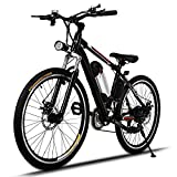 Electric Mountain Bike, JQstar 25'' Aluminum 21 Speed US Stock Power Plus Ebike with Lithium-Ion Battery