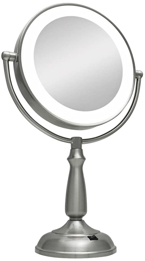 Zadro Ultra Bright Led Lighted 1x10x Round Vanity Mirror In Satin