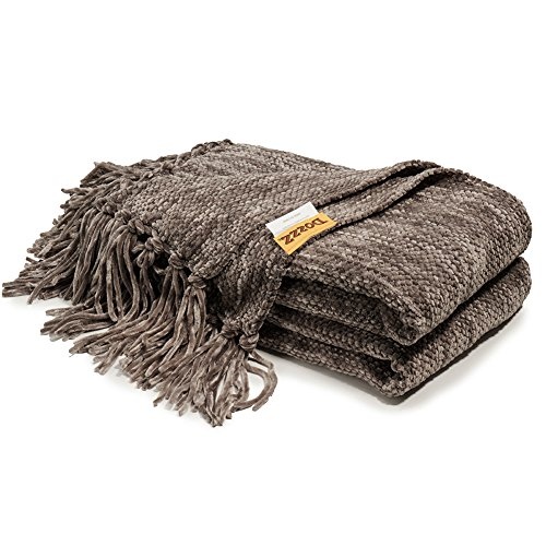 Dozzz Fluffy Chenille Knitted Throw Blanket With Decorative Fringe And Striped For Couch Cover Sofa Chair Bed Gift Grey