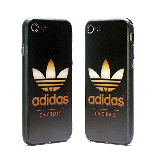 iPhone7 iPhone8 ハイブリットケース adidas メタリックロゴ風 ビンテージロゴ マットブラック