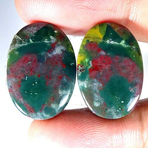 GEMSCREATIONS 40.20Cts 100% Natural Designer Blood Stone Oval Pair Cab Loose Gemstone